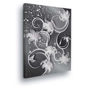 GLIX Tablou - Modern Silver-Flower Decoration 100x75 cm