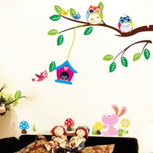 Set autocolante Ambiance Owls And Bird Cage On Tree