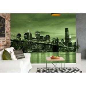 Fototapet GLIX - City Brooklyn Bridge New York Green + adeziv GRATUIT Tapet nețesute - 250x104 cm
