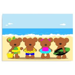 CARO Tablou pe pânză - Teddy Bears On The Beach 40x30 cm