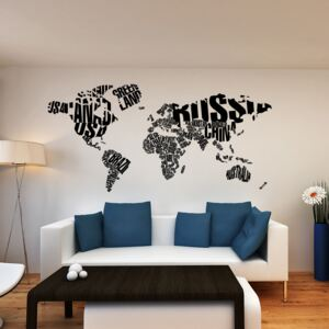 GLIX World map - autocolant de perete Negru 200 x 100 cm