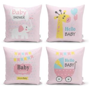 Set 4 fețe de pernă decorative Minimalist Cushion Covers Baby Girl, 45 x 45 cm