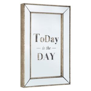Oglinda de perete aurie cu mesaj motivational Today Glace 40 cm x 5.5 cm x 60 cm