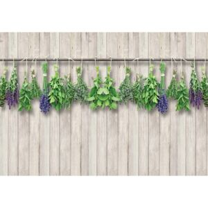 Vintage Chic Wood Planks And Herbs Fototapet, (368 x 254 cm)