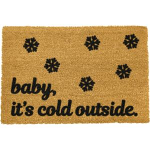 Covoraș intrare din fibre de cocos Artsy Doormats Baby It's Cold Outside, 40 x 60 cm, negru