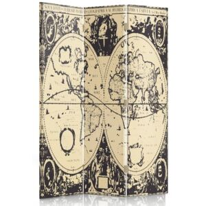 CARO Paravan - Vintage World Map | tripartit | unilateral 110x150 cm