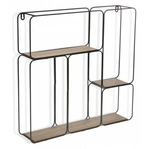 Etajera neagra/maro din metal si lemn 48,5 cm Wall Shelf High Versa Home