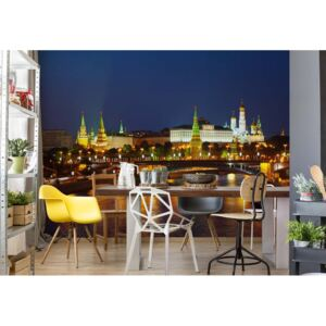 Fototapet GLIX - City Moscow River Bridge Skyline Night + adeziv GRATUIT Tapet nețesute - 250x104 cm