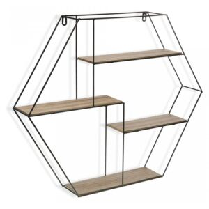 Etajera neagra/maro din metal si lemn 53 cm Wall Shelf Hexagonal Versa Home