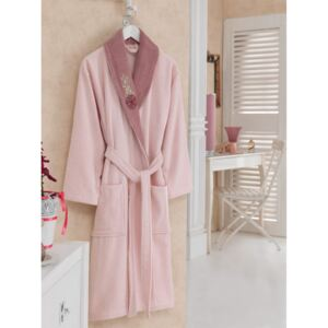 Halat de baie bumbac 100% ,Cotton Box, marime S/M , Roz , cod Pink Dusty Rose