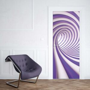 GLIX Tapet netesute pe usă - 3D Swirl Tunnel Purple And White