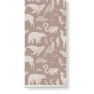 Rola tapet pentru copii 53x1000 cm Katie Scott Animals Dusty Rose Ferm Living