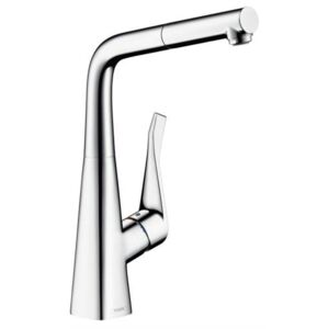 Baterie bucatarie Hansgrohe Metris, dus extractibil, crom