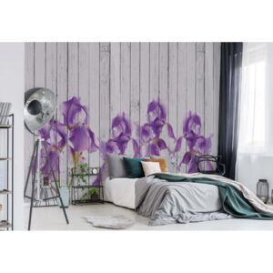 Fototapet GLIX - Wood Planks And Purple Flowers Vintage Chic + adeziv GRATUIT Tapet nețesute - 254x184 cm
