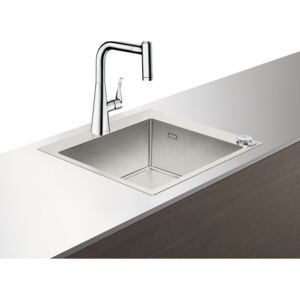 Set Hansgrohe Select Sink Combi C71-F450-01, chiuveta inox 550mm + baterie cu pipa rotativa si dus extractibil, crom