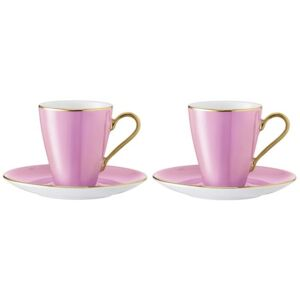 Set 2 cesti si farfuriute cafea LSA International Sorbet Rose 0.1 litri