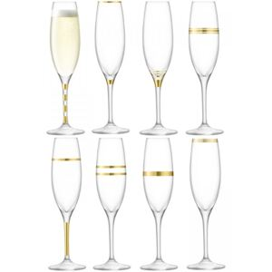 Set 8 pahare sampanie LSA International Deco Flute Gold 225ml