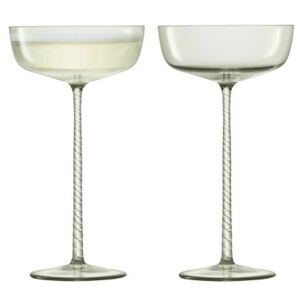 Set 2 pahare sampanie LSA International Champagne Theatre Saucer 190ml Braid/Smoke Grey