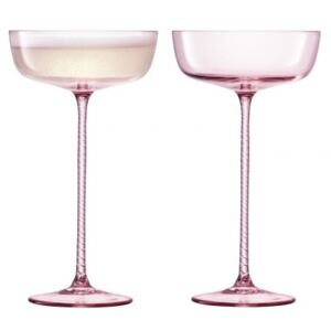 Set 2 pahare sampanie LSA International Champagne Theatre Saucer 190ml Braid/Dawn Pink