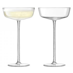 Set 2 pahare LSA International Champagne Theatre Saucer 190ml Braid/Clear