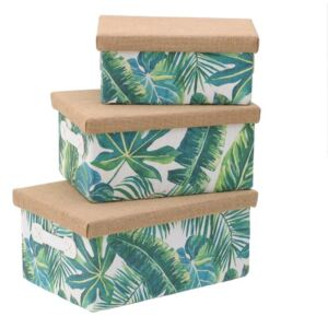Jungle Set 3 cutii depozitare, Textil, Verde