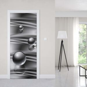 GLIX Tapet netesute pe usă - Silver Modern Abstract Design