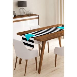 Napron din microfibră pentru masă Minimalist Cushion Covers Stripes with Blue Heart, 45 x 145 cm