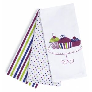 Set 3 Prosoape bucatarie Heinner Home 100% bumbac 45x70 Cupcake