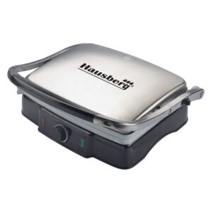 Grill si Sandwich Maker Electric Hausberg, 2200 W, invelis antiaderent, Inox