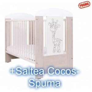 Patut Copii din Lemn Giraffe Light Grey+Saltea Cocos