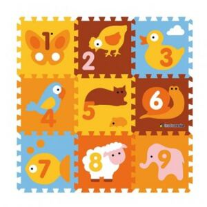 Covor Puzzle din Spuma Happy Children 9 piese - Animals