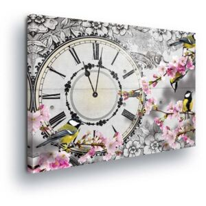 GLIX Tablou - Vintage Motive with Clock 80x60 cm