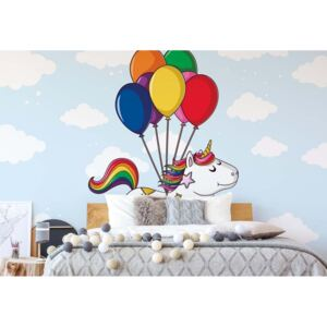 Fototapet GLIX - Flying Unicorn With Balloons + adeziv GRATUIT Tapet nețesute - 254x184 cm