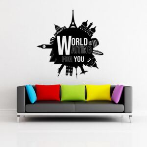 GLIX World is waiting for you - autocolant de perete Negru 55x60 cm