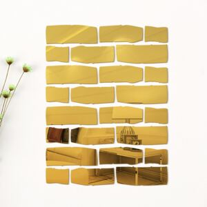 Sticker perete 3D Bricks Mirror Gold S