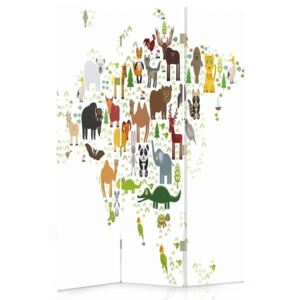 CARO Paravan - World Map For Children 1 | tripartit | unilateral 110x150 cm