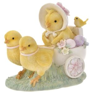 Figurina Chicks with cart din rasina 12 cm x 10 cm