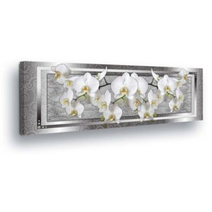 GLIX Tablou - White Flower Decoration in Silver Background 45x145 cm