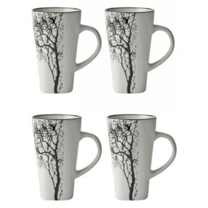 Set 4 căni pentru espresso KJ Collection Tree, 100 ml, alb