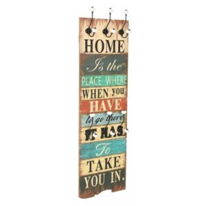 Koohashop Cuier de perete cu 6 carlige 120 x 40 cm HOME IS