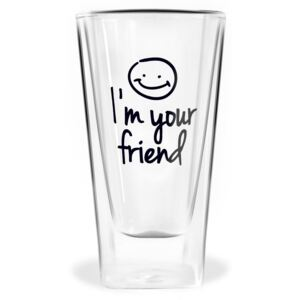 Pahar cu perete dublu Vialli Design Im Your Friend, 300 ml