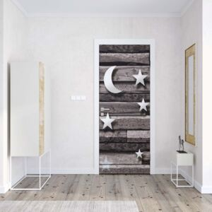 GLIX Tapet netesute pe usă - 3D Stars And Moon Wood Plank Texture Grey