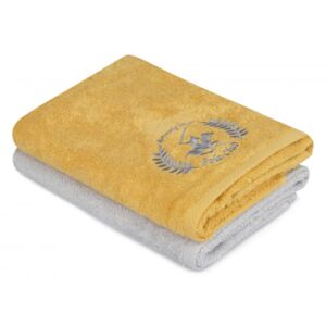 Set 2 prosoape 50x90cm bumbac 100%, Beverly Hills Polo Club, 402 - Mustard, Light Grey