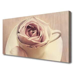 Tablou pe panza canvas Cupa Rose Art White Bej