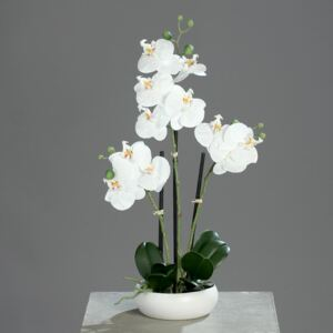 Orhidee artificiala alba in ghiveci ceramic - 36 cm