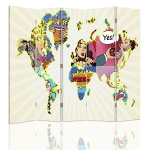 CARO Paravan - Map Of The World Pop Art | cinci păr?i | unilateral 180x150 cm