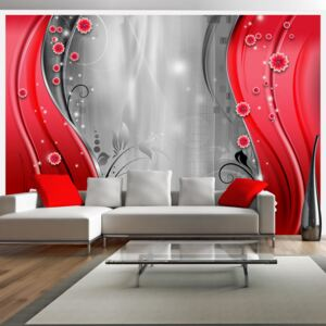 Fototapet Bimago - Behind the curtain of red + Adeziv gratuit 200x140 cm