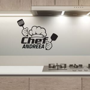 Sticker Personalizat Autocolant Decorativ Perete Chef, 45x35 cm, Negru, Oracal