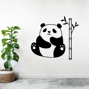 Sticker Autocolant Decorativ Perete Panda, 47x43 cm, Negru, Oracal