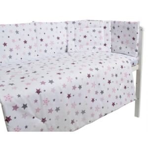 Lenjerie patut cu 5 piese Pink and Grey Stars white